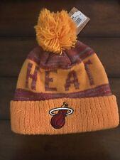 NWT Mitchell And Ness Miami Heat Beanie Jacquard Stripe Pom Knit.