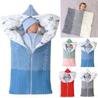 Baby warme Häkelarbeit Zip Swaddle Schlafsack Kinderwagen Wrap Schlafsäcke