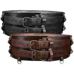 Luthor Leather Double Belt - Medieval and Reenactment Accessory