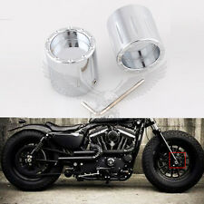 2x Chrome Deep Edge Cut Front Axle Cover Cap Nut For Harley SPORSTER SOFTAIL CVO