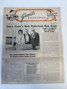 Vintage Sept 1968 Vol 10 No 4   Giants Jottings Baseball Newsletter-
