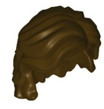 Lego Minifig Hair x 1 Dark Brown Mid-Length Wavy with Center Part and Sidelocks