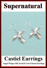 Supernatural Castiel's Angel Wings & Demon Killing Knife Silver Earrings.