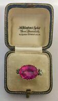 A 5ct Georgian Pink Topaz & Rose Cut Diamond Ring Circa 1800's