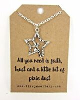 Girls Faith Trust Pixie Dust Fairy Star Silver Plated Message Card Necklace New