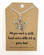 Girls Faith Trust Pixie Dust Fairy Star Silver Plated Message Card Necklace New