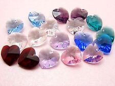 2 x Genuine 10MM SWAROVSKI Crystal 6228 HEART Pendants ~ CLEAR AB or PICK COL ~
