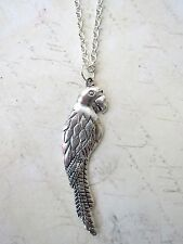 """Necklace New Nautical Pirate Fancy Dress Kitsch Cute Silver Plated Parrot 18"""""""