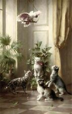 Nice Oil painting Carl Reichert - Animals Cats and the cockatoo Parrot canvas