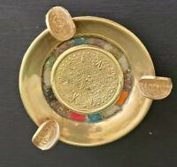 VTG 1960s Brass Metal Ashtray Mexico Stones Pesos AZTEC Calendar Polished NICE!