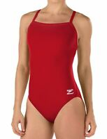Speedo Womens Swimwear Red Size 10 /36 Endurance+ Flyback One Piece $69- 713