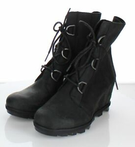31-59 NEW $90 Women Sz 9.5 M Sorel Nellie Leather Lace Up Wedge Boots In Black
