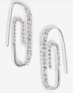 $29 lucky brand silver tone pave paperclip drop earrings ear wire closure  Jm302