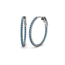Blue Topaz Inside-Out Women's Hoop Earrings 3.00 ct tw in 14K Gold JP:36678