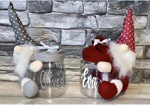 Personalised Kids Christmas Gonk Gonks Sweet Candy Jar Gift Xmas Eve Present