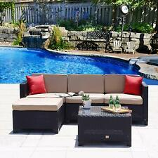 5PC Patio Furniture Set Rattan Wicker Sofa Sectional Couch Outdoor w/ Cushions