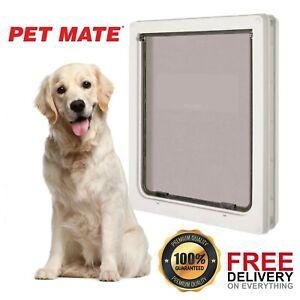 Extra Large Dog Pet Door XL Flap 366 x 441 mm 2 Way White Gate Lockable Entrance
