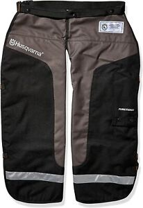 Husqvarna 02 Chain Saw Chaps Protective Functional Leg Wear [38 inches Blk/ Gry]