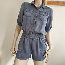 River Island utility faded blue short playsuit jumpsuit onepiece Size 8