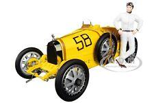 BUGATTI T35 #58 GP YELLOW W/FEMALE RACER FIGURINE 1/18 DIECAST CAR CMC 100B017