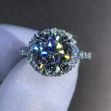 Engagement Ring In 925 Sterling Silver Sparkling 3.60Ct White Round Diamond Halo