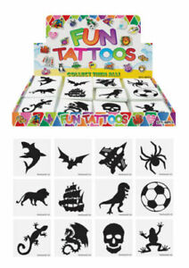 24 x BOYS BLACK Temporary Tattoos Transfers Childrens Kids Party Bag Fillers