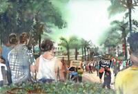 BLM Protest Ventura :  Signed LE Art Print:  Sandra Watercolors™ California