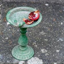 Antique Green Bird Feeder Bath, Metal Ornate Rustic French Garden Decor, Med