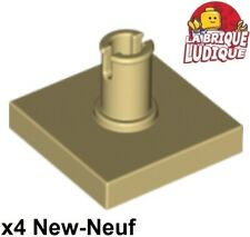 Lego - 4x Tile Modified plaque 2x2 with pin beige/tan 2460 NEUF