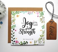 Bible verse Scripture Christian Gifts - Nehemiah 8:10 Encouragement Card GC46