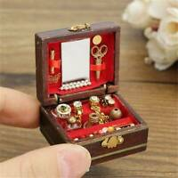 Kid Wooden Furniture Dolls House Miniature Jewelry Box Doll For Gift DIY New