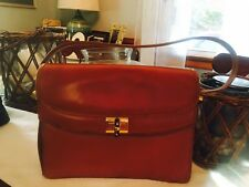 Vintage Authentic Gucci Brown Leather Bamboo Purse Handbag