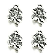 Four Leaf Clover Pendant Charms Tibetan Silver Pack of 100