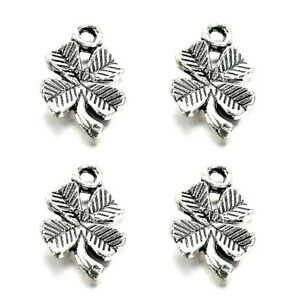 Four Leaf Clover Pendant Charms Tibetan Silver Pack of 50