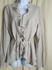 Valerie Bertinelli Xl angora blend Cardigan beige Sweater With Open Ruffle