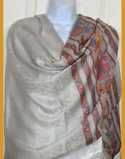 Pashmina Silk blend paisley elephant gray silver Shawl, Stole, Wrap from India!