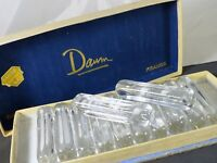 12 VINTAGE FRENCH SIGNED DAUM CLEAR CRYSTAL KNIFE RESTS BOX OF ORIGIN 1930