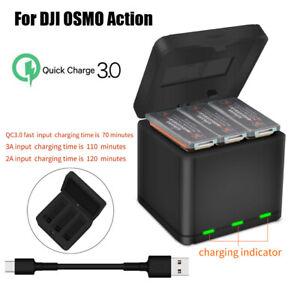 Für DJI OSMO Action Camera 3 Akku Smart QC 3,0 Schnellladegerät USB Ladebox