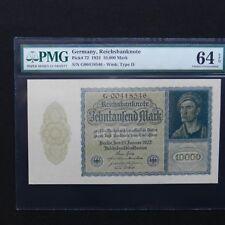 1922 Germany, Reichsbanknote 10.000 Mark, Pick # 72, PMG 64 EPQ Choice Unc.