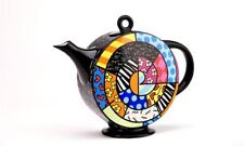 Romero Britto Large Full Size Ceramic Spiral Teapot New Design 60 oz
