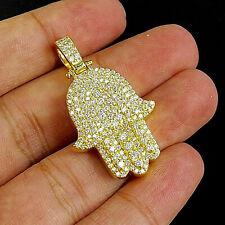 1.50'' INCHES HAMSA PENDANT 14K YELLOW GOLD OVER 3/4 CT ROUND CUT AAA+ DIAMOND
