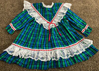 VintageGirls Dress Plaid Red Blue Green Lace Frilly Holiday Party Size4T