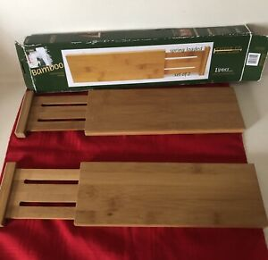 NIB WOOD BAMBOO SET 2 SPRING LOADED CUSTOM FIT DRAWER DIVIDERS #8895 BY LIPPER