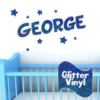 Personalised Glitter Wall Name With Stars Kids Boys Girls Bedroom Sticker