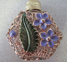 Russian Czechoslovakia Perfume bottle Glass green leaf Pale Lilac Flower Духи