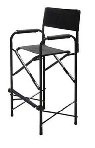 Tall Directors Chair Black Aluminum Folding Chair Outdoor Indoor Single Chair
