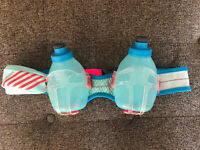 Nathan Mercury Hydration Belt With 2 10oz Bottles Pink Blue Stretch Phone Pouch