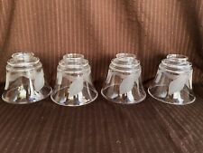 ***** 4 VINTAGE FRENCH VIANNE ETCHED GLASS LAMP SHADES *****