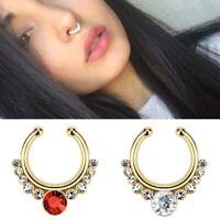Women Fake Septum Clicker Nose Ring Hoop Crystal Hanger Clip No Piercing Jewelry