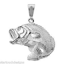 New .925 Sterling Silver Bass Fish Pendant